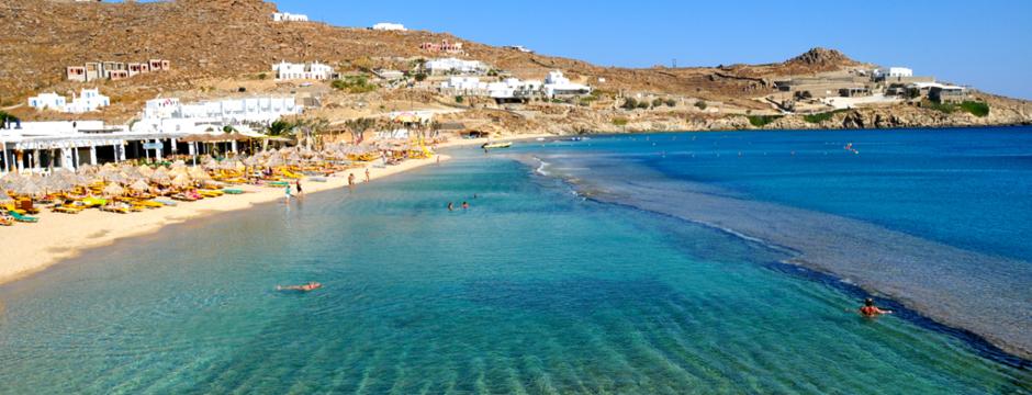 Spiaggia di Paradise Beach a Mykonos